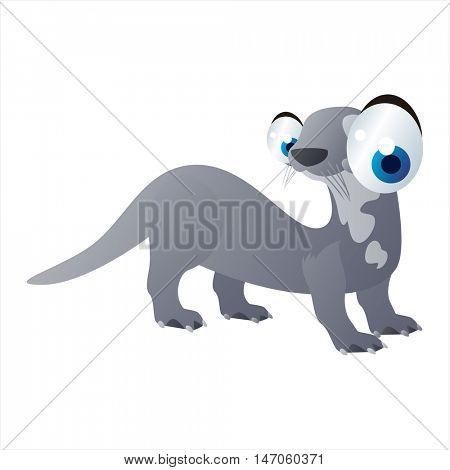 vector cartoon cute animals. Otter