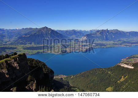 Lake Thunersee village Spiez and Mt Niesen. View from Mt Niesen Switzerland.