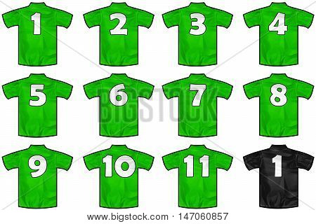 12 twelve green sport shirts as a soccer hockey basket rugby baseball volley or football team t-shirt. Like Mexico national team