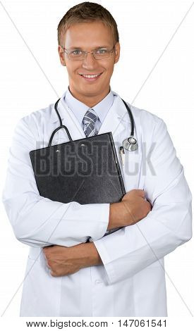 Young male doctor smiling and holding a clipboard or patient chart