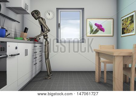 Food processor, a robot can help in the kitchen(3d rendering)