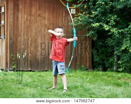 Little Archer With Bow And Arrows