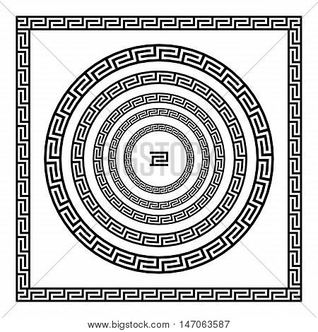 Border Greek Round Frame With A Meander. Vector Black And White Illustration.