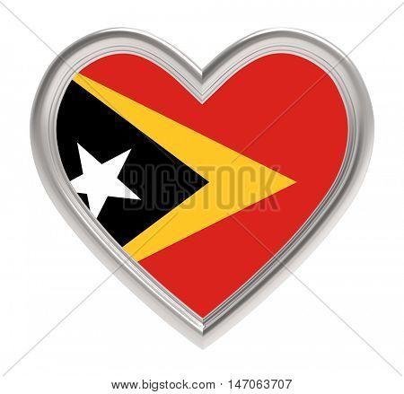 East Timor flag in golden heart isolated on white background. 3D illustration.