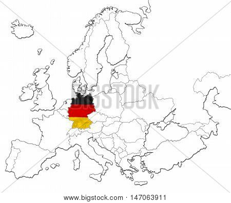 The national Germany flag in the map of Europe isolated on white background.