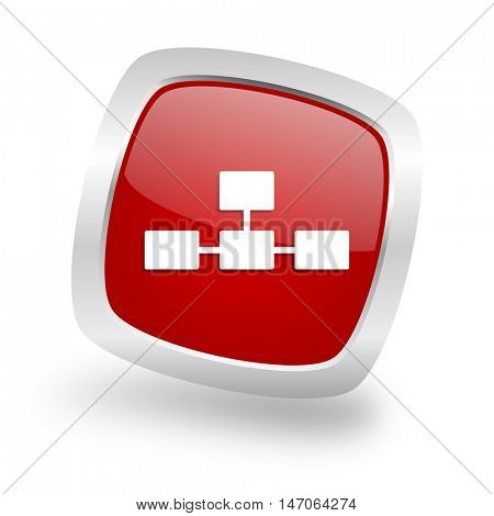 database square glossy red chrome silver metallic web icon