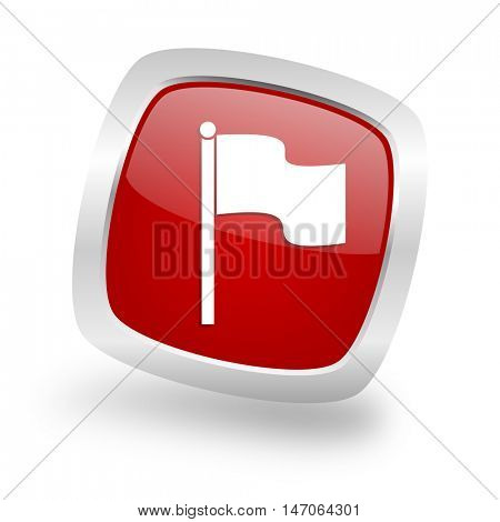 flag square glossy red chrome silver metallic web icon