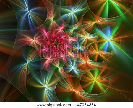 Computer-generated colorful image of abstrakt fractal flower
