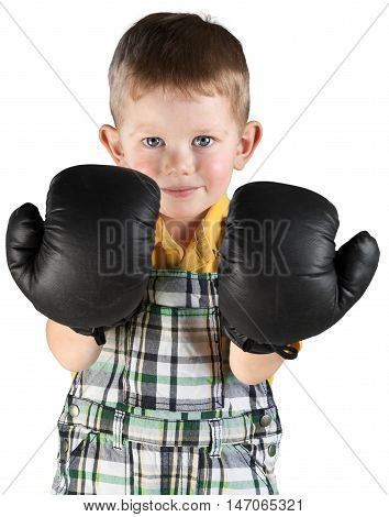 Friendly Little Boy Standing with Boxing Gloves - Isolated