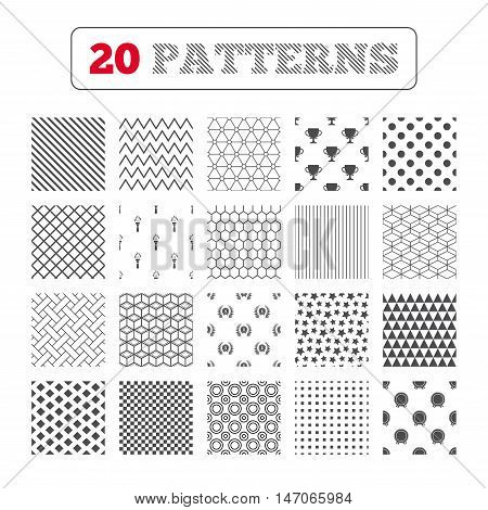 Ornament patterns, diagonal stripes and stars. First place award cup icons. Laurel wreath sign. Torch fire flame symbol. Prize for winner. Geometric textures. Vector