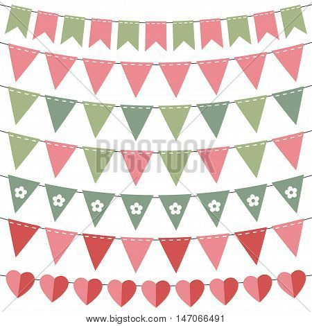 Pink and green birthday party bunting set