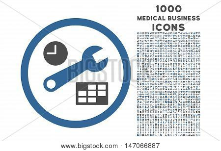 Date and Time Setup rounded vector bicolor icon with 1000 medical business icons. Set style is flat pictograms, cobalt and gray colors, white background.