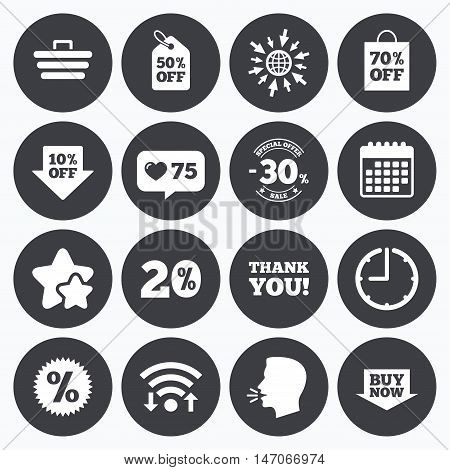 Calendar, wifi and clock symbols. Like counter, stars symbols. Sale discounts icon. Shopping cart, coupon and buy now signs. 20, 30 and 50 percent off. Special offer symbols. Talking head, go to web symbols. Vector