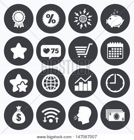 Calendar, wifi and clock symbols. Like counter, stars symbols. Online shopping, e-commerce and business icons. Piggy bank, award and star signs. Cash money, discount and statistics symbols. Talking head, go to web symbols. Vector