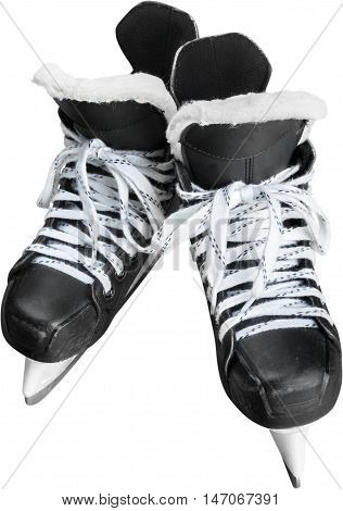 Pair of Black Ice Hockey Skates, Isolated on Transparent Background