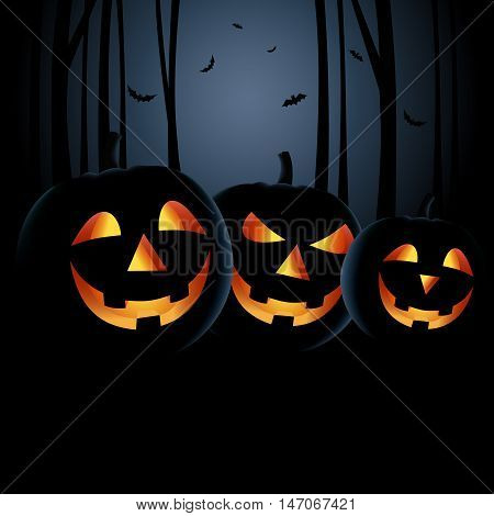Halloween night with grinning pumpkins in a haunted woods vector eps 10