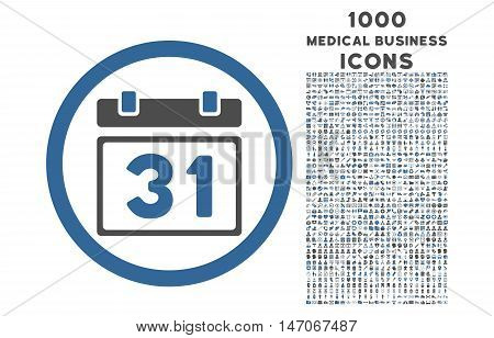 Last Month Day rounded vector bicolor icon with 1000 medical business icons. Set style is flat pictograms, cobalt and gray colors, white background.
