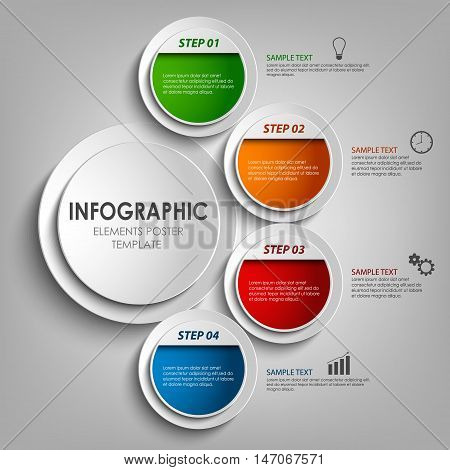 Info graphic with round colored labels design template vector eps 10
