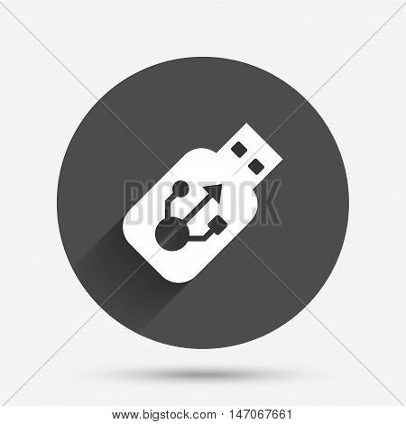 Usb sign icon. Usb flash drive stick symbol. Circle flat button with shadow. Vector