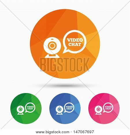 Video chat sign icon. Webcam video speech bubble symbol. Website webcam talk. Triangular low poly button with flat icon. Vector