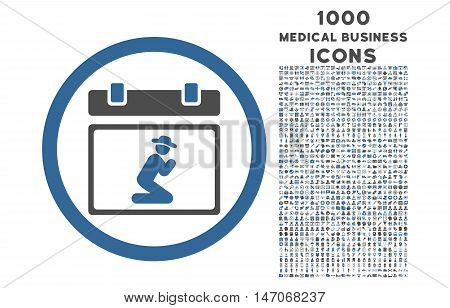 Pray Date rounded vector bicolor icon with 1000 medical business icons. Set style is flat pictograms, cobalt and gray colors, white background.