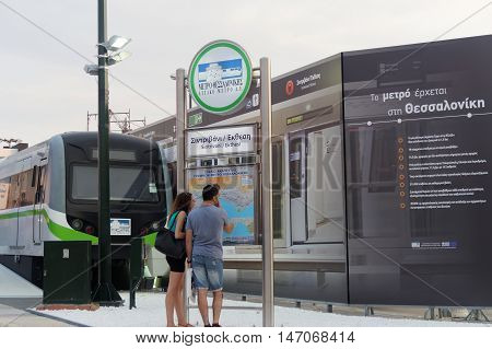 Thessaloniki, Greece - September 12 2016: Thessaloniki metro station exhibit. Part of an exhibition inside 81st Thessaloniki International Fair. Thessaloniki metro will be operational by 2020.