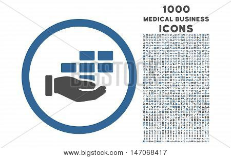 Service Schedule rounded vector bicolor icon with 1000 medical business icons. Set style is flat pictograms, cobalt and gray colors, white background.