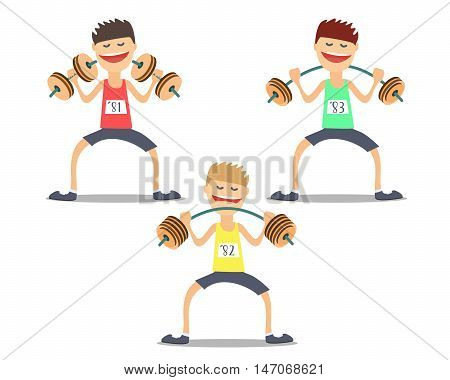 athlete weightlifter doing exercises difficult .Vektor illustration