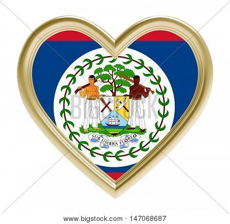 Belize flag in golden heart isolated on white background. 3D illustration.