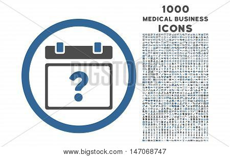 Unknown Date rounded vector bicolor icon with 1000 medical business icons. Set style is flat pictograms, cobalt and gray colors, white background.