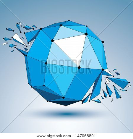Abstract 3d faceted blue figure with connected black lines and dots. Vector low poly shattered design element with fragments and particles. Explosion effect.