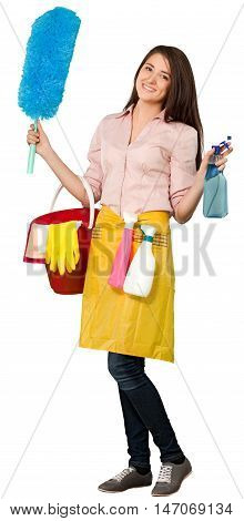 Friendly Young Charwoman Standing and Holding Accessories for Cleaning  - Isolated