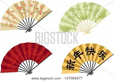 Oriental fans in a variety of colors and patterns