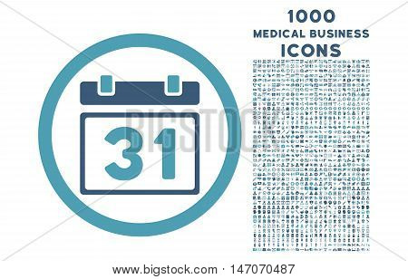 Last Month Day rounded vector bicolor icon with 1000 medical business icons. Set style is flat pictograms, cyan and blue colors, white background.