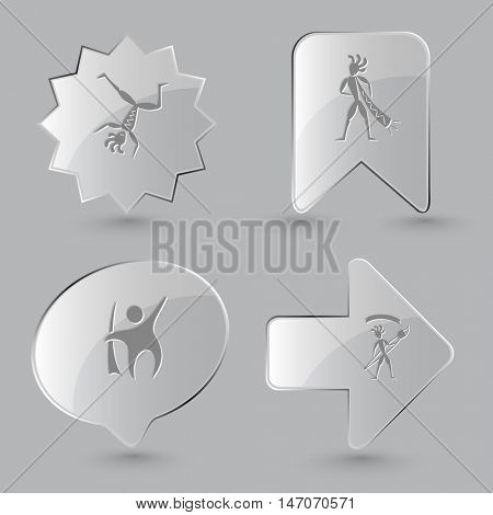 4 images: dancing ethnic little man, with trumpet, with brush. Ethnic set. Glass buttons on gray background. Vector icons.