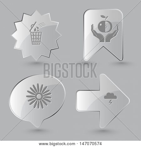 4 images: bin, apple in hands, camomile, thunderstorm. Nature set. Glass buttons on gray background. Vector icons.