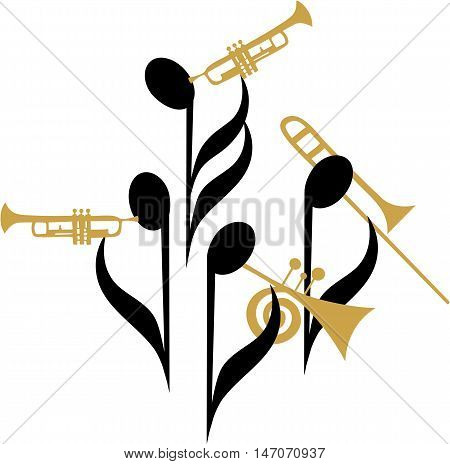 Music notes as jazz band quartet with brass instruments