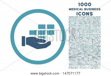 Service Schedule rounded vector bicolor icon with 1000 medical business icons. Set style is flat pictograms, cyan and blue colors, white background.