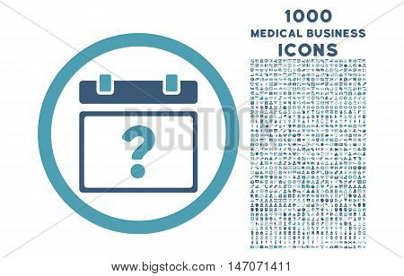 Unknown Date rounded vector bicolor icon with 1000 medical business icons. Set style is flat pictograms, cyan and blue colors, white background.