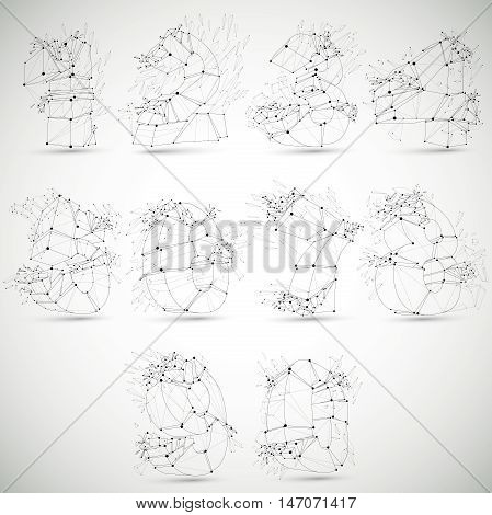 Perspective technology demolished numbers with black lines and dots connected polygonal wireframe font. Explosion effect Set of abstract faceted mathematics elements cracked into fragments.