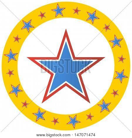 An image of a circus star circle emblem.