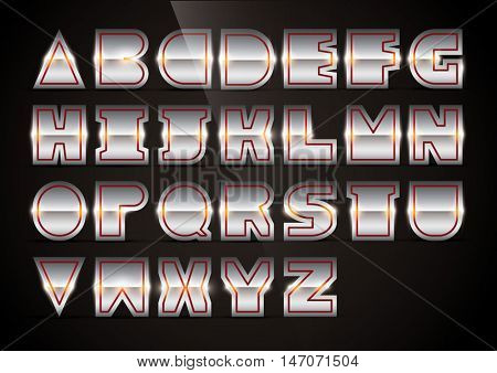 Vector of stylized metallic alphabet