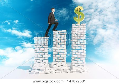 Financial growth and risk concept with young businessman in suit climbing abstract white brick ladder with golden dollar sign on top. Bright sky background. 3D Rendering