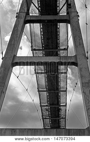 Bridge for ore transport to old steel furnace from Resita city Romania. B&W processed.