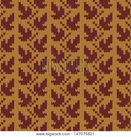 Vector Autumn Knitted Pattern 1 on yellow background