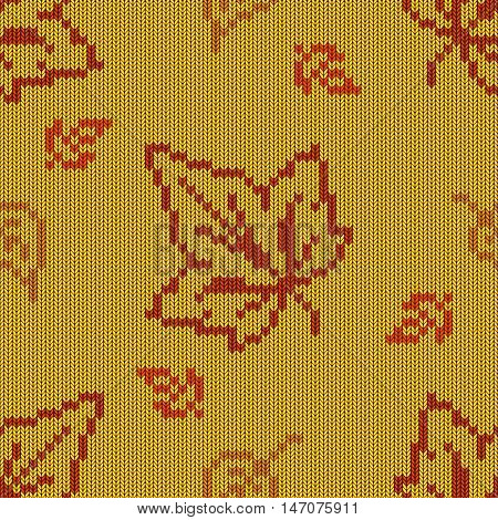 Vector Autumn Knitted Pattern 2 on yellow background