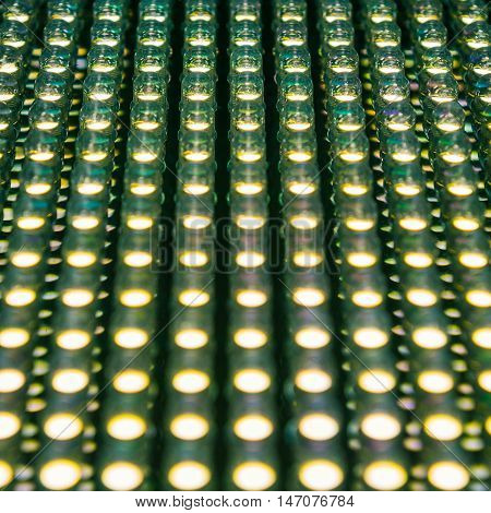 Selective focus at low position of led diode panel in retro style