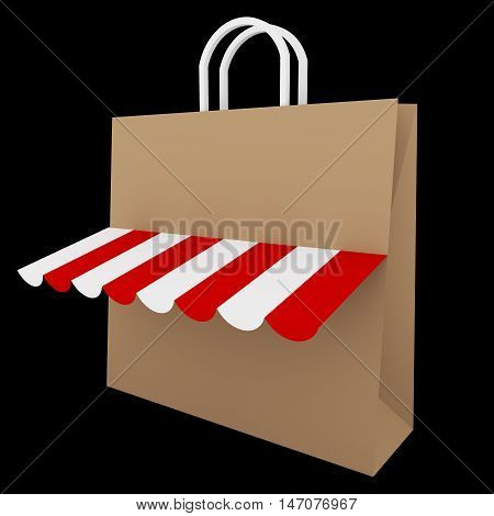 3D Brown shopping bag with red and white canopy isolated on Black background