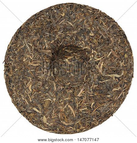Yunnan raw sheng high mounting puerh tea with stone impress overhead view isolated