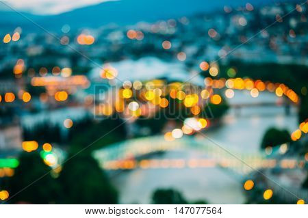 The Blurred Boke Bokeh Background Of City Night Illumination And Lights Of Tbilisi, Georgia.